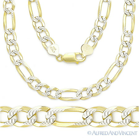 Diamond Cut Pave 6.8mm Figaro Link Chain Necklace in .925 Sterling Silver