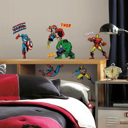 32 New CLASSIC MARVEL HEROES WALL DECALS Avengers Stickers Boys Bedroom Decor, Dimensions: 4 sheets of 10 x 18 By Sticker Hot (Avengers Decor)