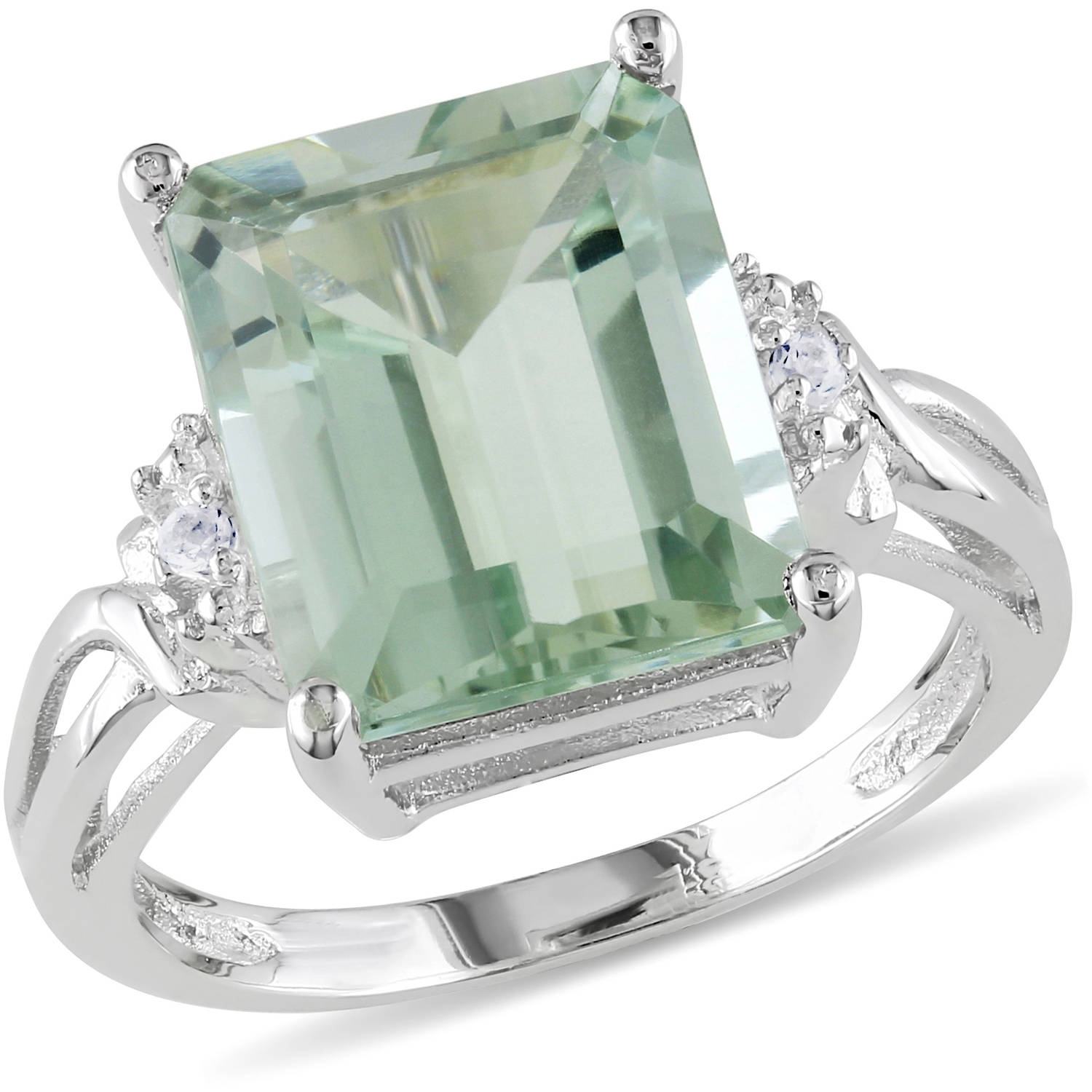 Tangelo 5-5/8 Carat T.G.W. Emerald-Cut Green Amethyst and White Topaz-Accent Sterling Silver Cocktail Ring