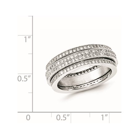 Sterling Silver Polished Rhodium-plated Pav? Eternity Motion Ring - image 1 of 3