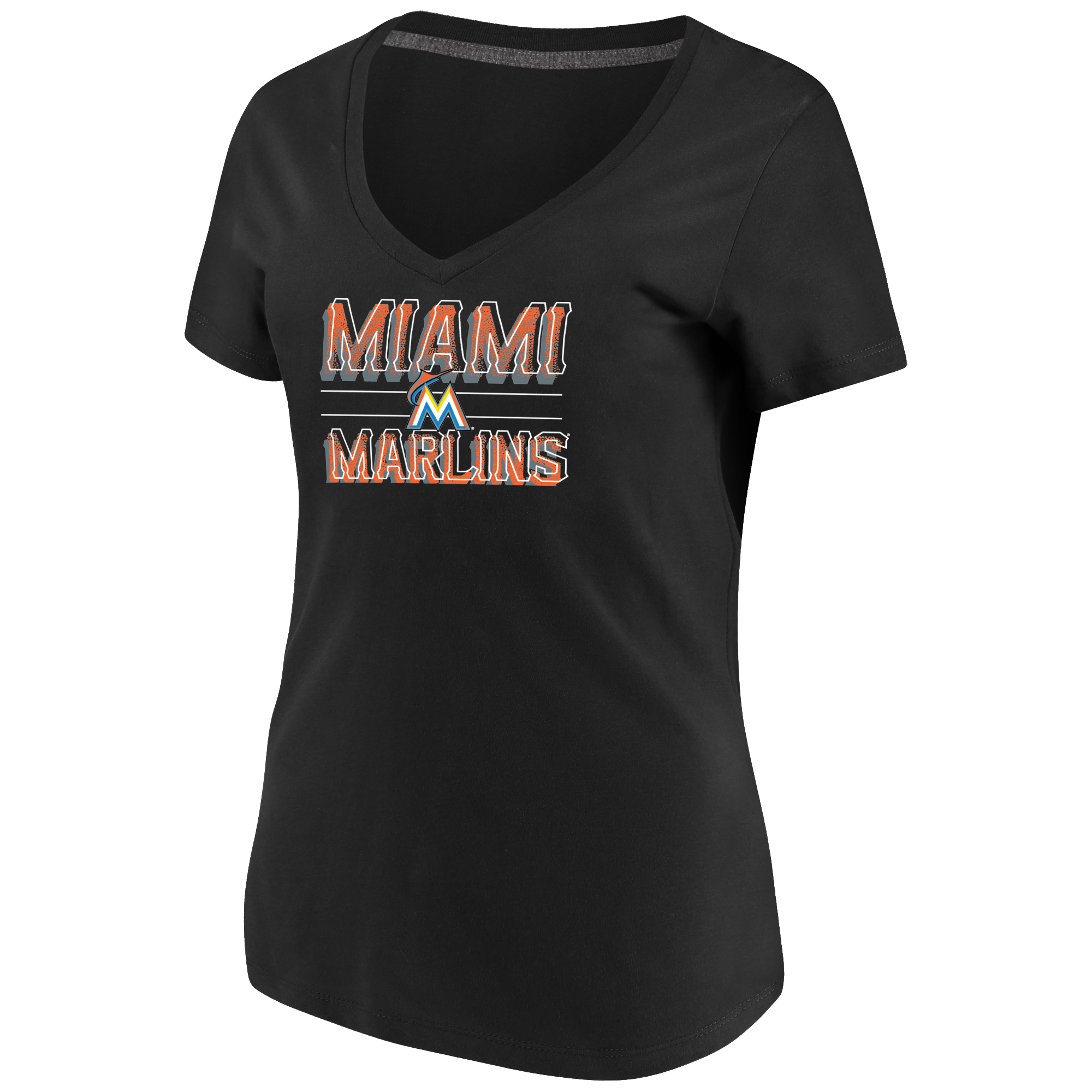 Women's Majestic Black Miami Marlins Compulsion to Win Plus Size V-Neck T-Shirt