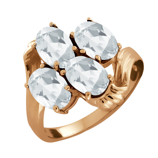 2.20 Ct Oval White Topaz Rose Gold Plated Sterling Silver Ring