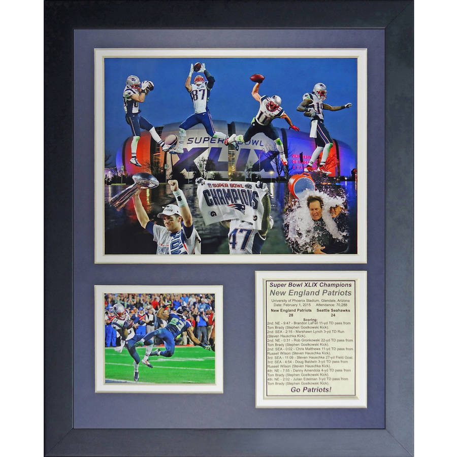 """NFL New England Patriots"" (2014 Super Bowl XLIX Champions Tom Brady 4-Time Champ Tribute) 11x14 Framed Photo Collage, by Legends Never Die, Black"