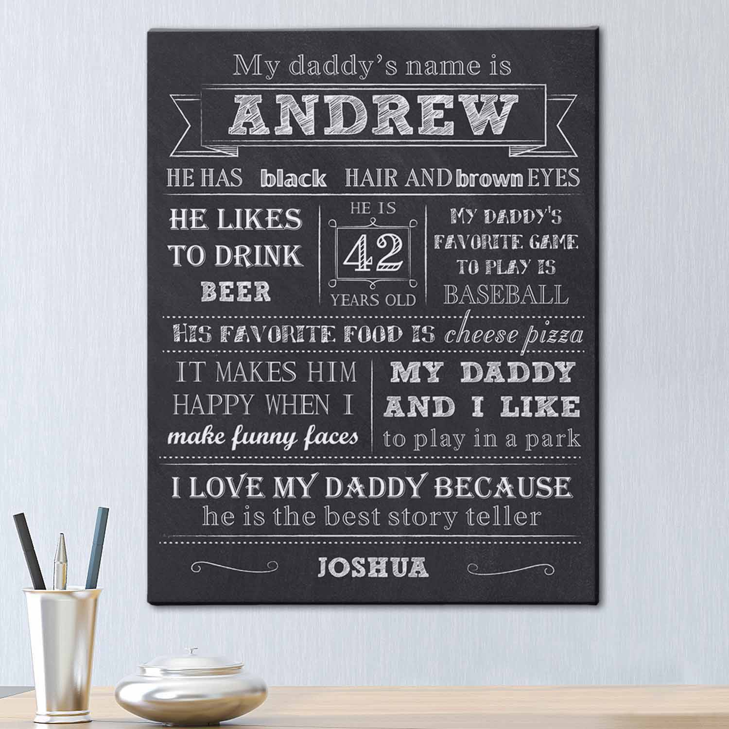 Personalized My Daddy Canvas