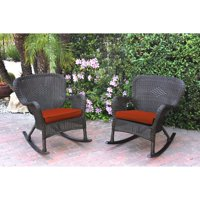 Jeco Windsor Resin Wicker Outdoor Rocking Chair - Set of 2