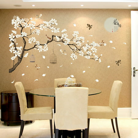 White Blossom Tree Branch Wall Art