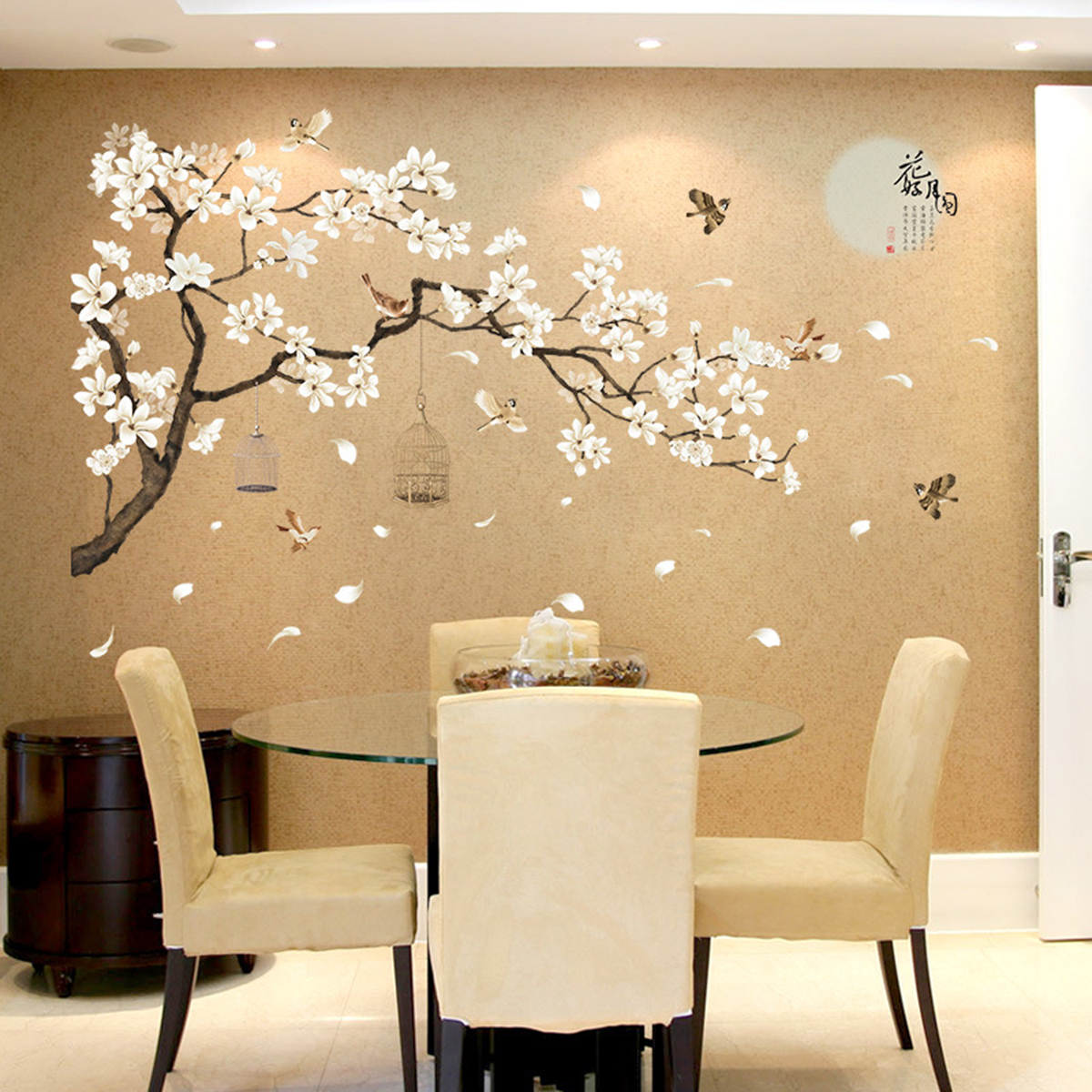 Large Cherry Blossom Flower Birds Tree Wall Stickers Art Decal Home Decor DIY