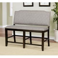 Furniture of America Carter Gray Nailhead Trim Faux Linen Dining Bench