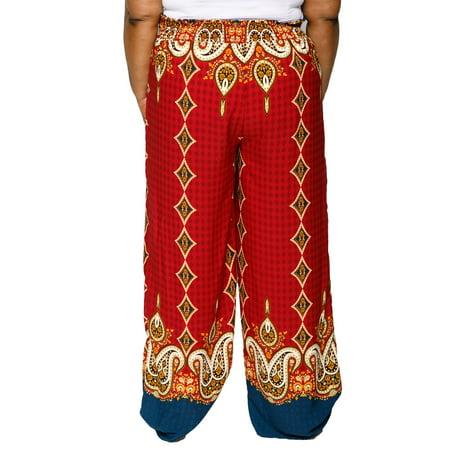 3b12820d2df Xehar Women s Plus Size Wide Leg Border Print Palazzo Beach Summer Lounge  Pants