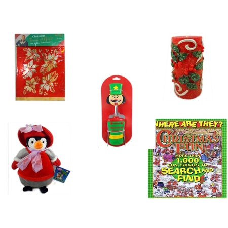 Christmas Fun Gift Bundle [5 Piece] -  Touch of Gold 1-Step Iron-On Foil Poinsettias -  Candle Holly Berry Pillar 3 x 6 - Nutcracker Wine Bottle Opener - Penguin  12