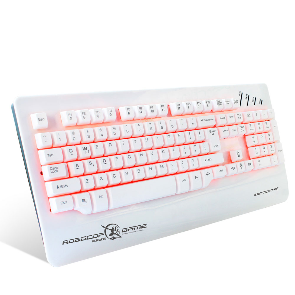 Ktaxon ZERODATE X12 3-Color Backlit Breathing Gaming Keyboard White