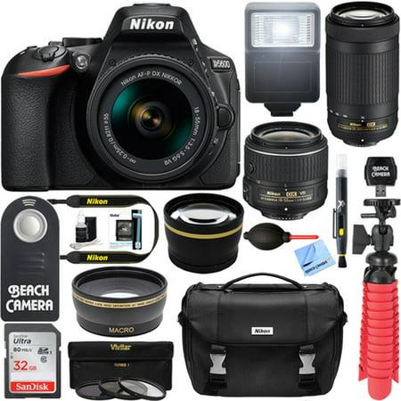 Nikon D5600 24.2 MP DSLR Camera + AF-P DX 18-55mm & 70-300mm NIKKOR Zoom Lens Kit + Accessory