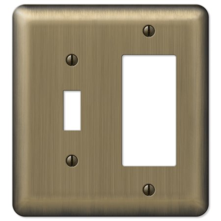 Image of Amerelle 154TR Decorative Round Corner Steel Wallplate with 1 Toggle/1 Rocker, Brushed Brass