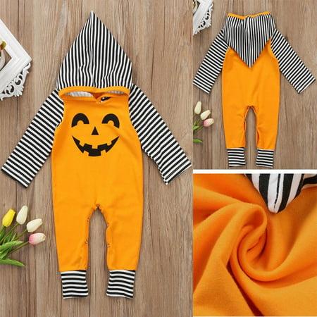 Newborn Baby Halloween Pumpkin Hoodies Infant Warm Clothes Romper Jumpsuit 0-24M