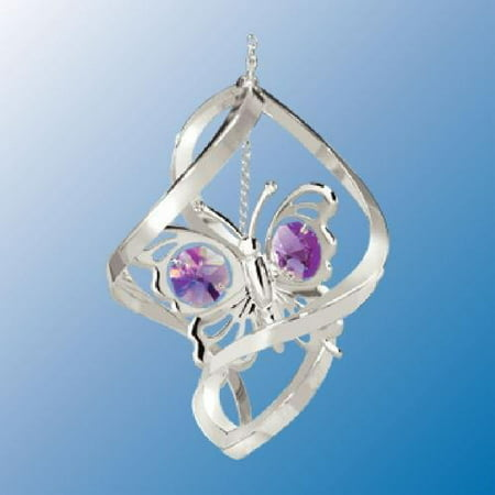 Butterfly Austrian Crystal - Chrome Plated Butterfly Spiral Ornament with Purple Austrian Crystals