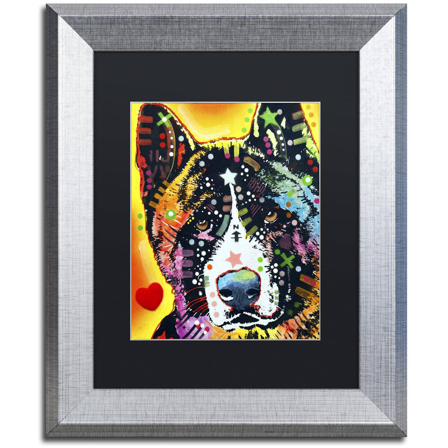 "Trademark Fine Art ""Akita"" Canvas Art by Dean Russo, Black Matte, Silver Frame"