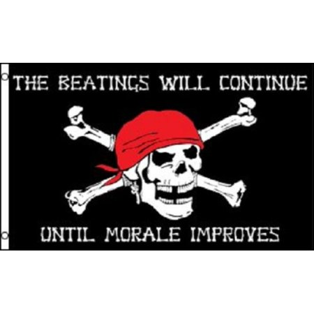 PIRATE FLAG 3x5 Beatings will Continue until Morale Improves Jolly Roger Ship, Home and Holiday Flags By Home and Holiday Flags,USA](Pirate Flag For Sale)