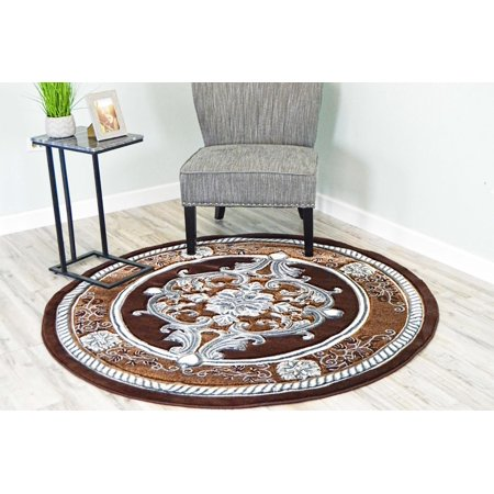(GLAMOUR 3D Hand Carved Traditional Rug Oriental Floral 7'9''x7'9'' Round Brown Grey)