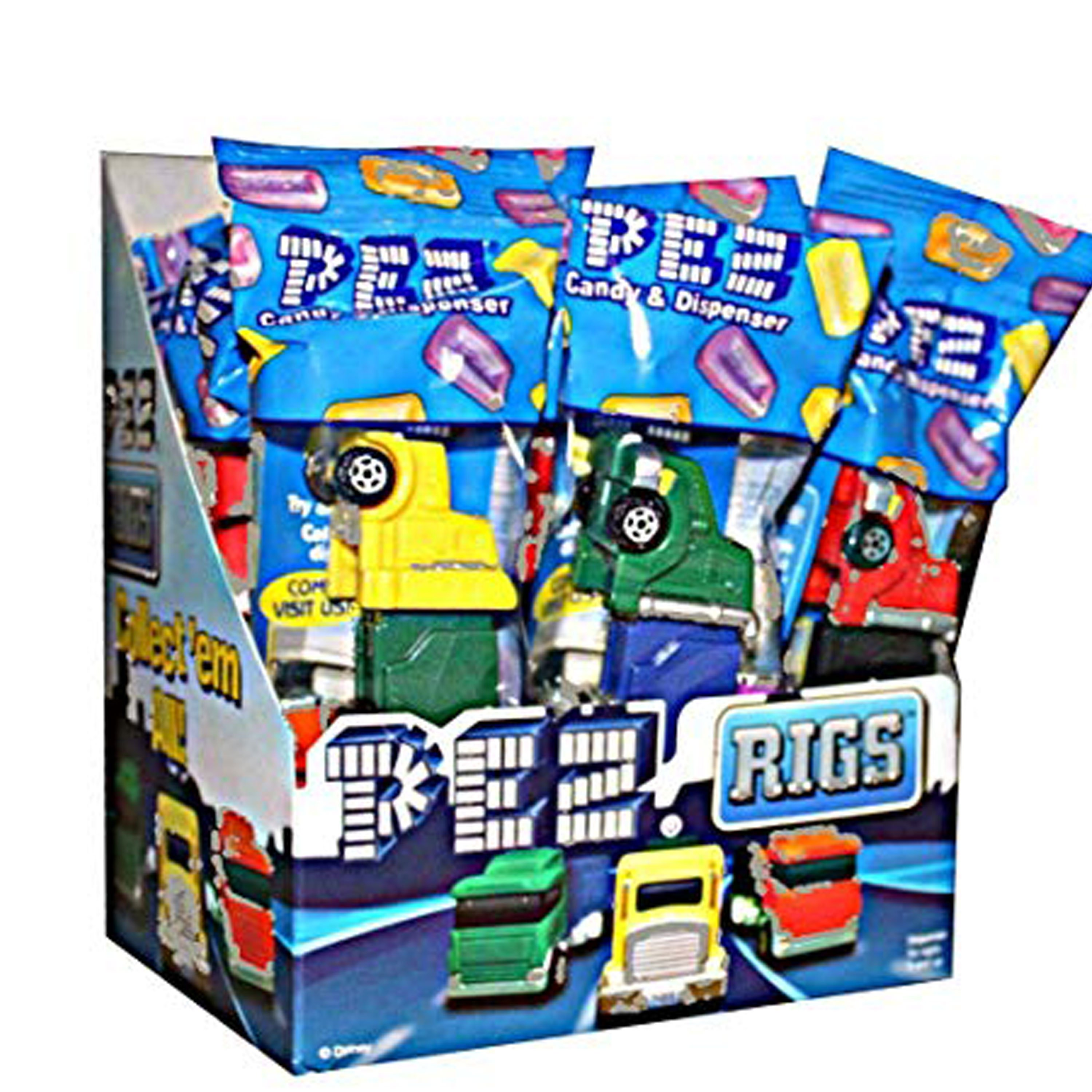 PEZ Candy Rigs Assortment, candy dispenser plus 2 rolls of assorted fruit candy, box of 12