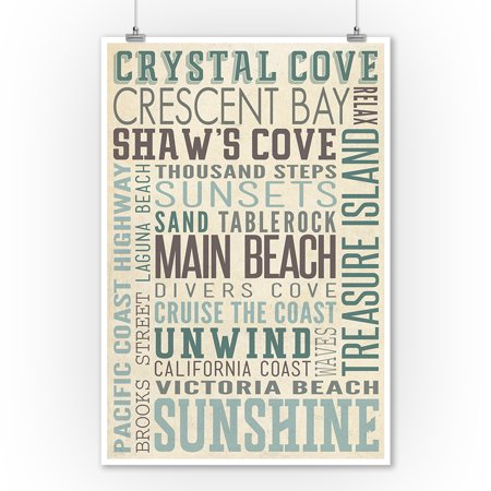 Crystal Cove, California - Typography - Lantern Press Artwork (9x12 Art Print, Wall Decor Travel Poster)