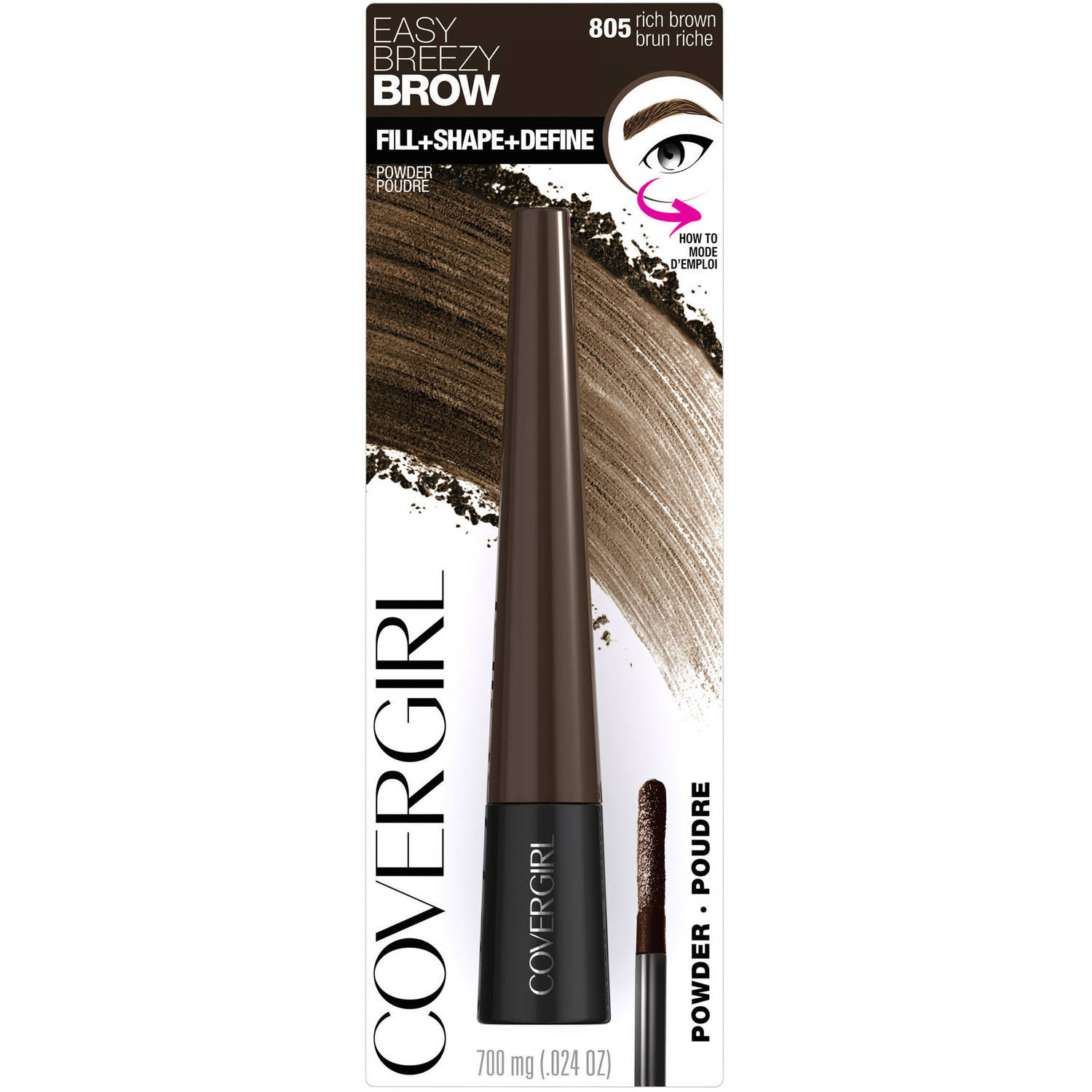 COVERGIRL Easy Breezy Brow Fill + Shape + Define Powder Eyebrow Makeup, Rich Brown