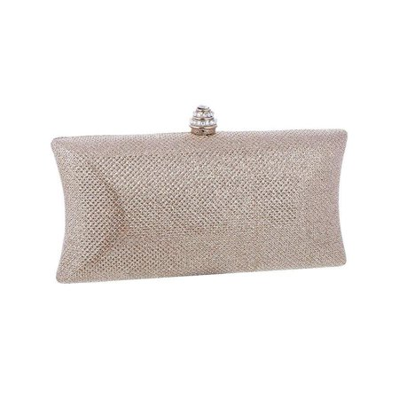 Chicastic Glitter Mesh Hard Box Evening Wedding Clutch Purse With Rhinestone Closure - Champagne