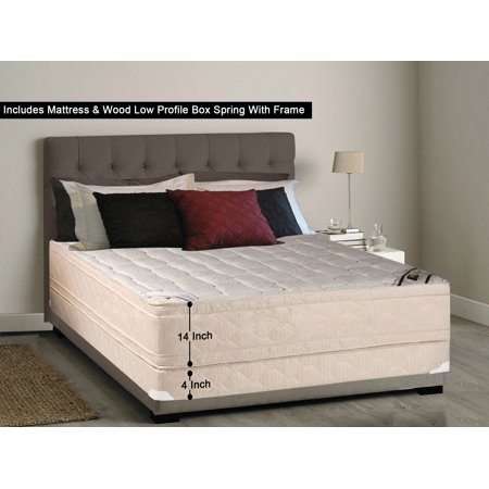 Low Profile Set - WAYTON, 14-inch Fully Assembled Firm Euro Top Innerspring Double Sided Mattress and Low Profile Box Spring/foundation set with Frame / 74x44 (Not Standard Size) /