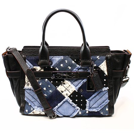 Coach New Black Canyon Denim Womens Satchel Leather Swagger 27 Purse