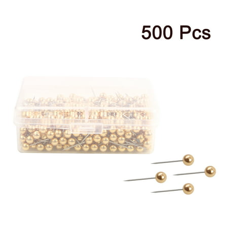 500pcs 1/8 Inch Push Pins Round Head Thumb Tacks for Home Office Cork Boards Map Note Picture Hanging Gold Tone