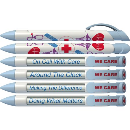 Nurse Pen by Greeting Pen-  We Care Rotating Message Pen - 6 Pack (36547) (Personalized Rotating Pen)