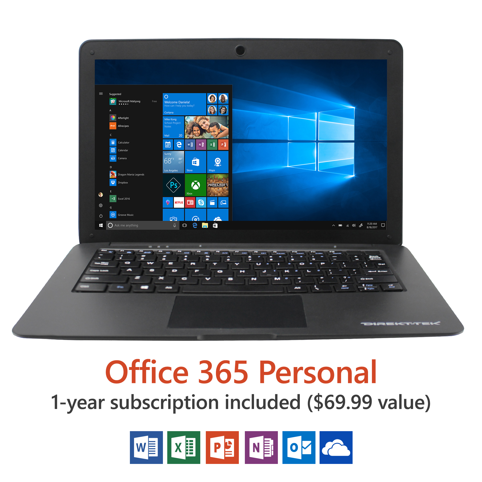 "Direkt-Tek 12.5"" Ultra Slim Laptop, Windows 10 Home, Office 365 Personal 1-Year Subscription Included ($69.99 Value), Intel Processor, 32GB storage, Front camera with 10 hour battery"
