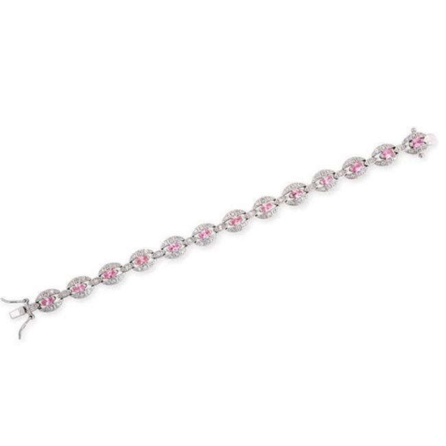 CZ BR1014-P Simulated Pink Sapphire C. Z.  Diamond Oval Link Silver Bracelet
