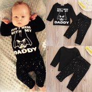 Newborn Infant Baby Boys Girls T-shirt Tops+Pants Clothes Outfits Set
