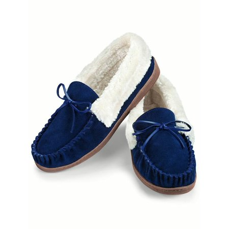 Faux Suede Plush Lined Moccasins Shoes, 8, Navy (Best Shoes With Navy Suit)