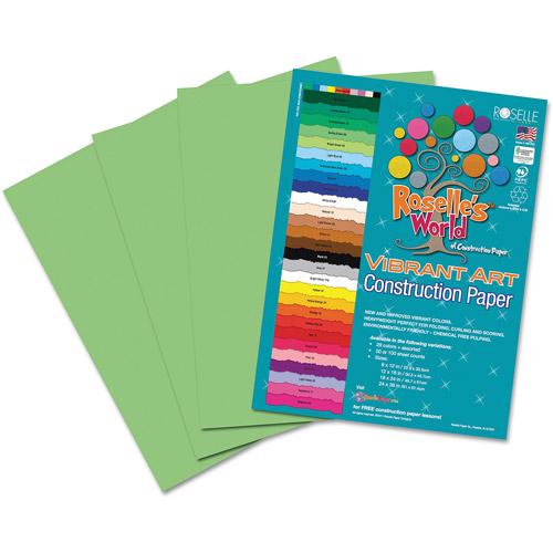 Roselle 65601 Heavyweight Construction Paper, 58 lbs., 9 x 12, Light Green, 50 Sheets/Pack