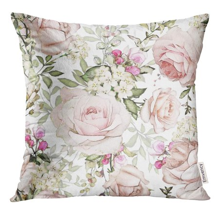ARHOME Gray Artistic with Pink Flowers and Leaves on White Watercolor Floral Pattern Rose in Pastel Color Pillow Case 16x16 Inches - Pink Watercolor Flowers