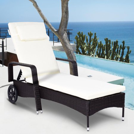 Costway Outdoor Chaise Lounge Chair Recliner Cushioned Patio Furniture Adjustable Wheels ()