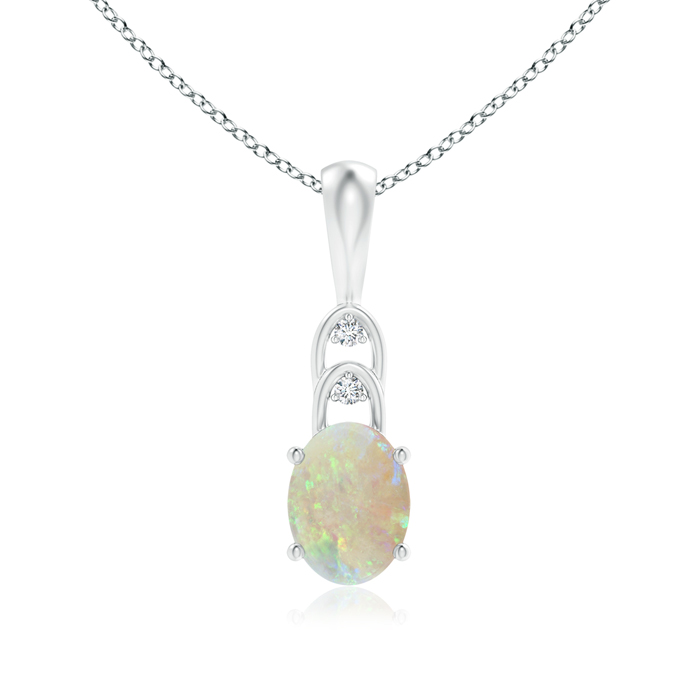 Mother's Day Jewelry Necklace Solitaire Oval Opal Pendant with Diamonds in 950 Platinum (8x6mm Opal)... by Angara.com