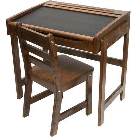 Lipper International Child's Chalkboard Desk & Chair, 2-Piece Set, Walnut Finish