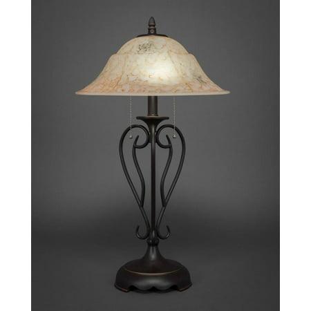 Italian Iron Two Light (Toltec Lighting-42-DG-53618-Olde Iron - Two Light Table Lamp)