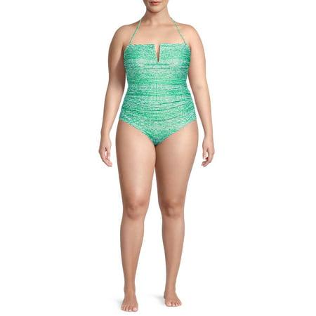 Catherine Malandrino Women's Plus Size V-Neck Convertible Strap One-Piece Swimsuit