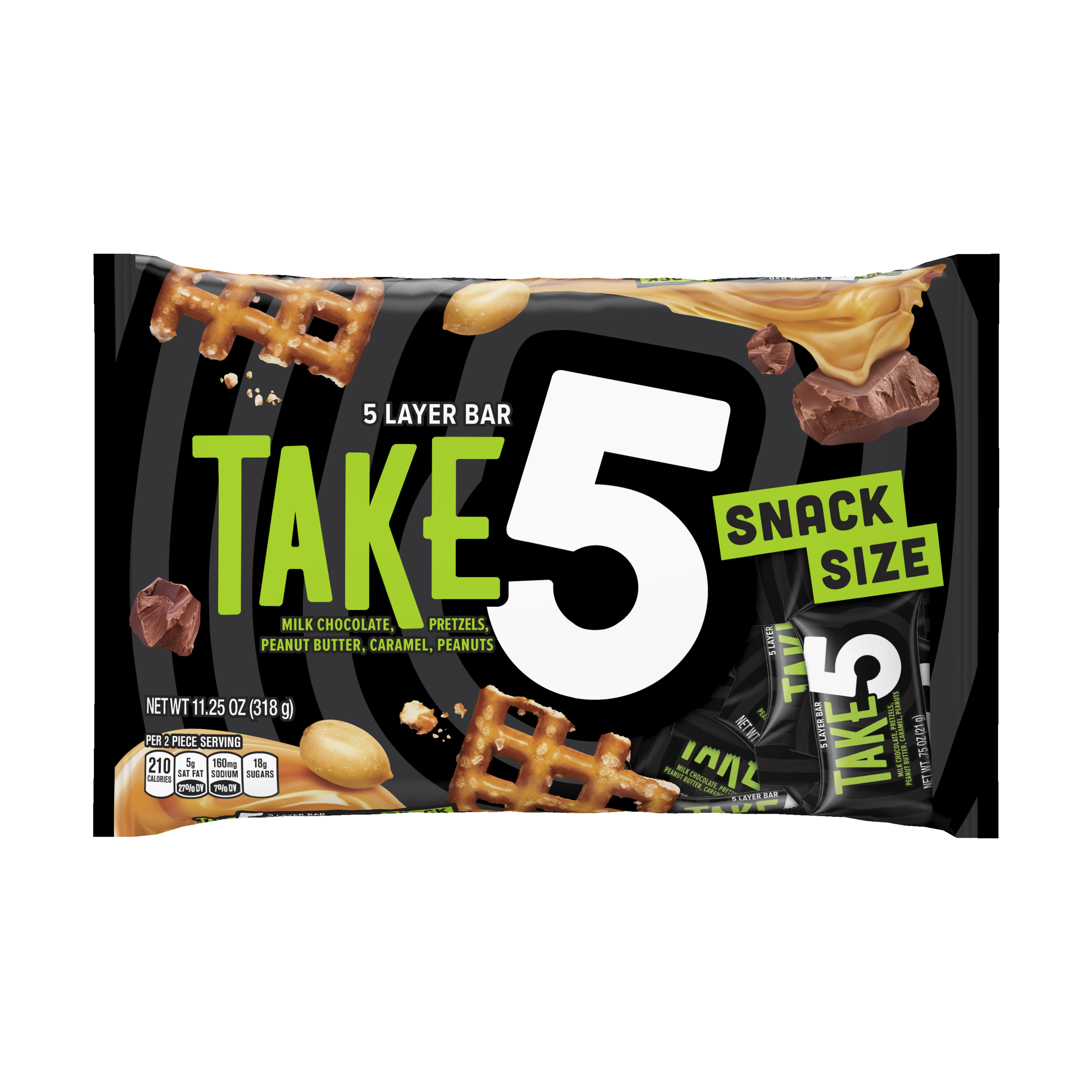 Take 5, Halloween 5 layer Candy Bars Snack Size, 11.25 Oz
