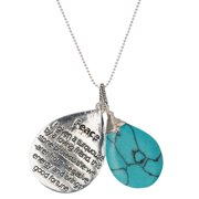 Silver-Tone Peace Blue Textured Glass Stone Friend Necklace Protect From Negative Energy Brings Good Fortune