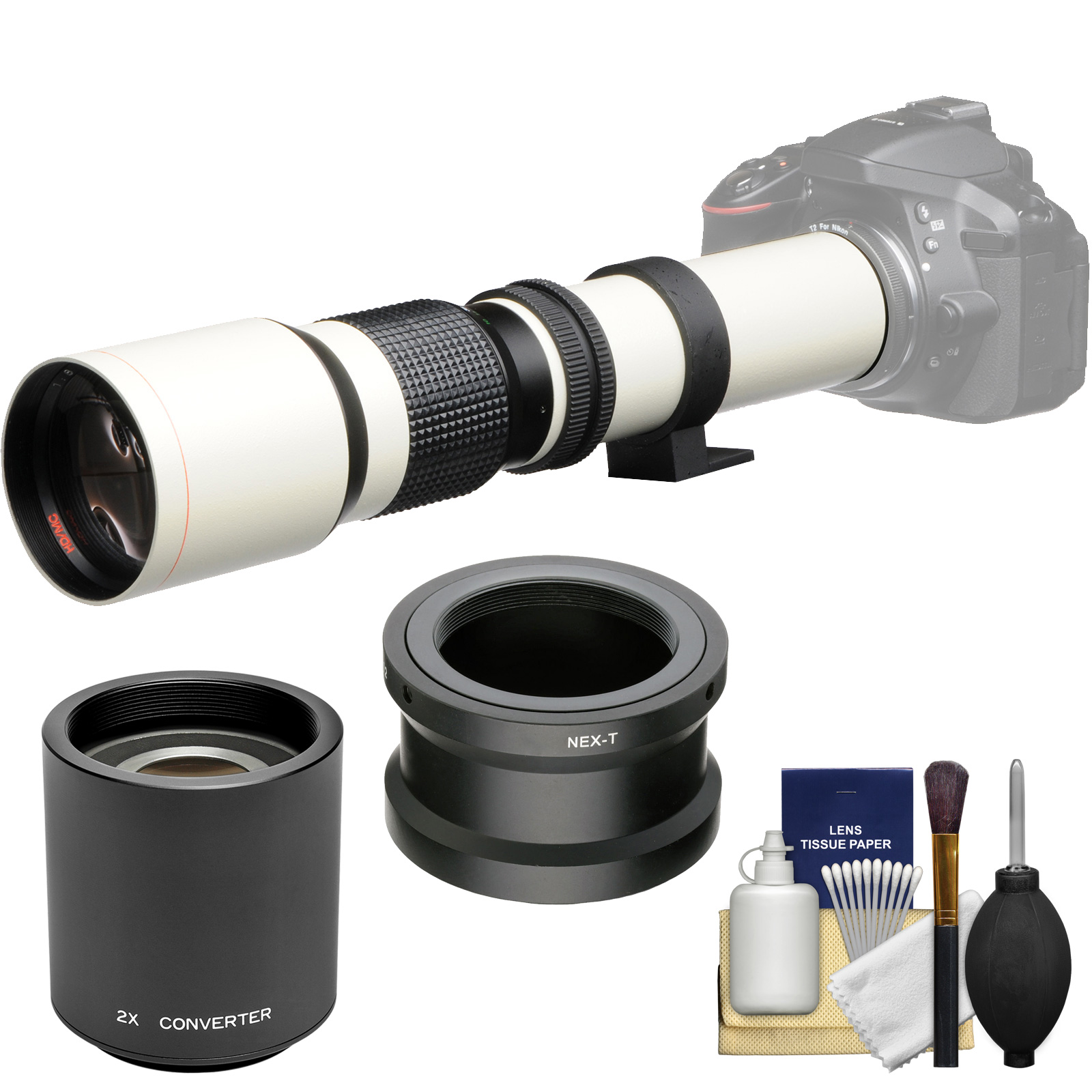 Vivitar 500mm f/8.0 Telephoto Lens (T Mount) (White) with 2x Teleconverter (=1000mm) + Accessory Kit for Sony Alpha A3000, A5000, A5100, A6000, A7, A7R, A7S E-Mount Camera