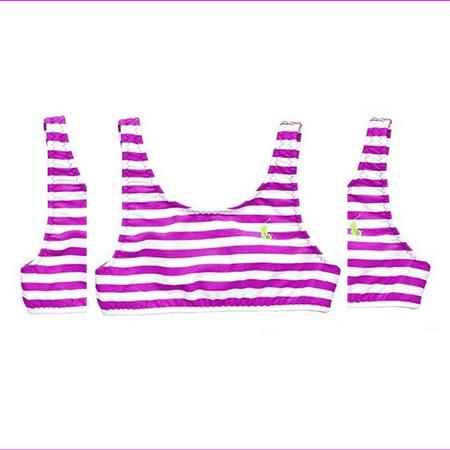Ralph Lauren Baby Girls' Striped Swimsuit Top, Purple, Size 3/3T