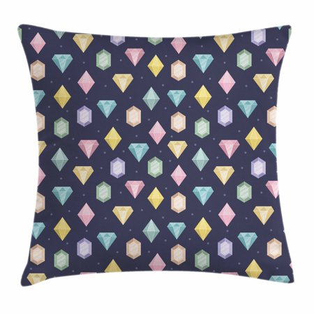 Colorful Throw Pillow Cushion Cover, Graphic Gemstones with Different Shapes Trillion Drop and Marquise Cut Pattern, Decorative Square Accent Pillow Case, 18 X 18 Inches, Multicolor, by Ambesonne