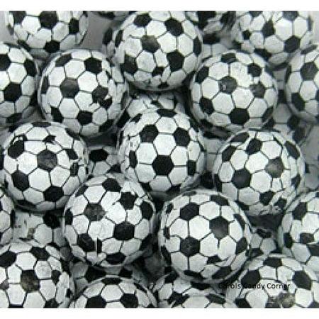 Foiled Milk Chocolate Soccer Balls 1 LB Bag wrapped in Soccer Design Foil Foil Chocolate Wrappers