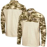 Colorado Buffaloes Colosseum OHT Military Appreciation Desert Camo Quarter-Zip Pullover Jacket - Oatmeal