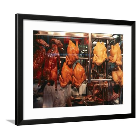 Cooked Peking Duck Displayed in Restaurant Window, Hong Kong, China, Asia Framed Print Wall Art By Amanda