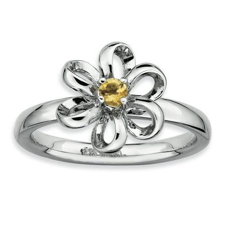 Sterling Silver Stackable Expressions Polished Citrine Flower Ring Size 10 - image 1 de 3